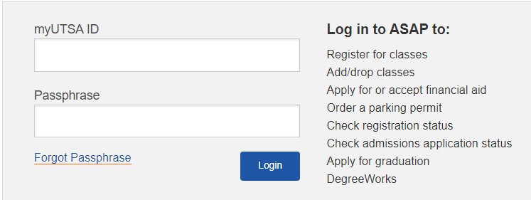 UTSA ASAP login page.