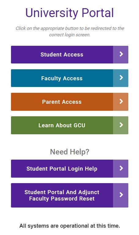 gcu student portal login page.