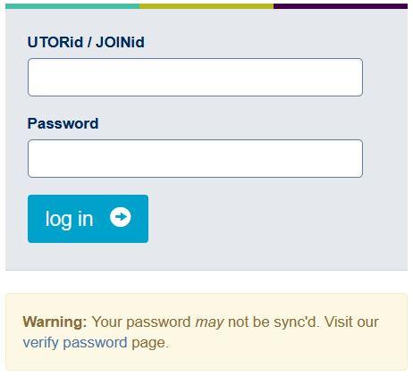 Acorn UOFT login page.