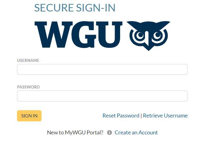 wgu student portal login page.