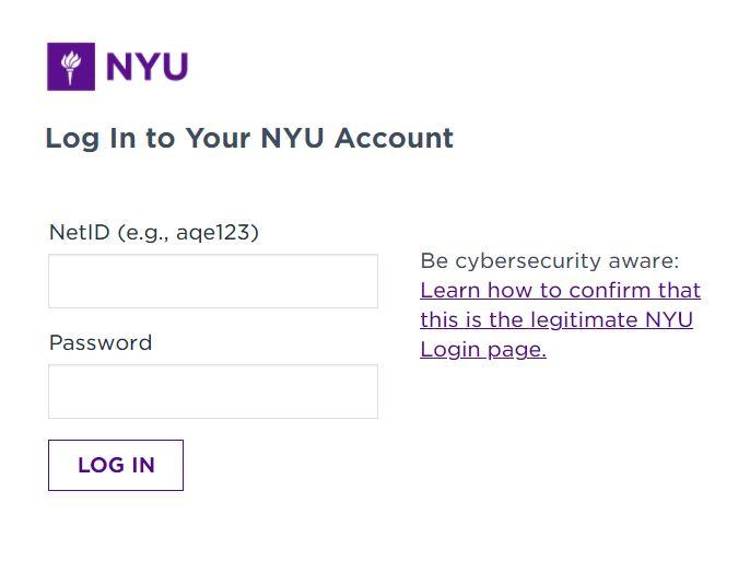 NYU Albert login page.
