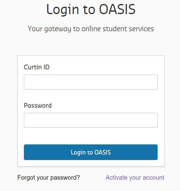 Curtin Oasis login page.